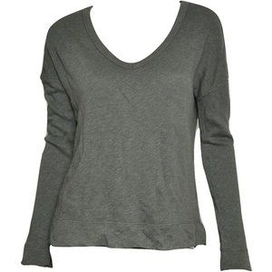 James Perse Boxy V-Neck Pullover Green 1/SM